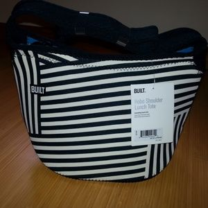 NWT Built NY Hobo Shoulder Lunch Tote Black/White